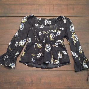 Free People Bell Sleeve Floral Blouse sz S